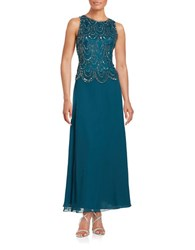 J Kara Sequined Popover Gown Teal