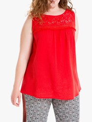 Max Studio Sleeveless Lace Trim Top Red