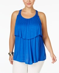 Eyeshadow Plus Size Tiered Lace Back Top Dazzling Blue