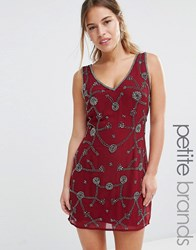 Maya Petite Embellished Shift Dress With V Front And Back Berry Red