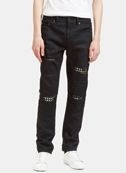 Saint Laurent Destroyed Studded Leather Patch Jeans Black