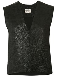 Sabine Luise Grained Cropped Vest Black