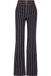 Marc Jacobs Striped Cotton Twill Wide Leg Pants Midnight Blue