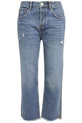 Maje Woman Cropped Distressed High Rise Straight Leg Jeans Mid Denim