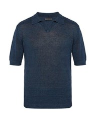Iris Von Arnim Filip Knitted Linen Polo Shirt Navy