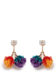 Venna Detachable Pompom Glass Crystal Drop Earrings Multi Colour