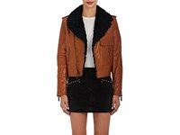 Saint Laurent Women's Shearling Lined Leather Motorcycle Jacket Brown Black Tan