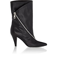 Givenchy Asymmetric Zip Leather Ankle Boots Black