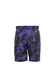 Prada Rose Print Faille Shorts Black Purple