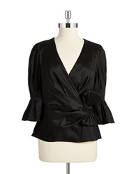 Chetta B Mock Wrap Bow Top Black