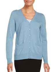 Lord And Taylor Merino Wool Button Front Cardigan Blue Shell