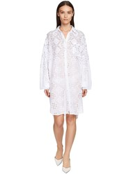 Ermanno Scervino Poplin Eyelet Lace Mini Dress W Crystals White