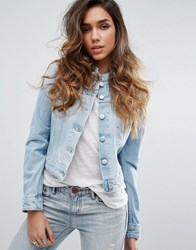 Replay Collarless Denim Jacket 011 Light Blue