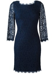 Diane Von Furstenberg Short Lace Dress Blue