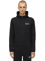 Emporio Armani Zip Up Cotton Blend Sweatshirt Hoodie Black