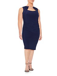 Marina Plus Size Rhinestone Embellished Ruched Sheath Dress Navy