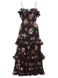 Zimmermann Honour Tiered Floral Print Silk Habutai Midi Dress Black