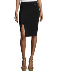 Michael Michael Kors Pull On Front Slit Knit Pencil Skirt Black