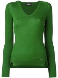 Dsquared2 Classic V Neck Jumper Green