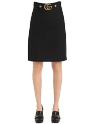 Gucci Gg Buckle Wool And Silk Crepe Skirt