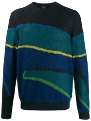 Paul Smith Ps Striped Knit Jumper Blue