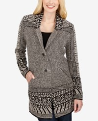 Lucky Brand Long Sleeve Printed Cardigan Natural Multi