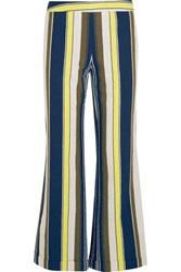 Zeus Dione Rhodia Cropped Striped Slub Silk Wide Leg Pants Blue
