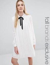Fashion Union Tall Diana Pleated Shift Dress With Tie Detail Cream