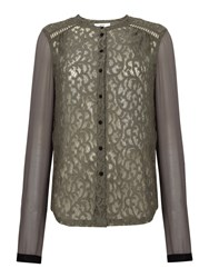 Noa Noa Shirt With Lace Grey