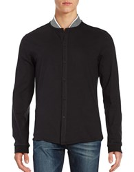 Kenneth Cole Knit Collar Cotton Shirt Black