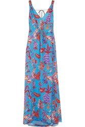 Matthew Williamson Pineapple Paisley Silk Mousseline Maxi Dress Blue