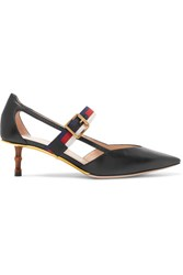 Gucci Bamboo Trimmed Leather Pumps Black