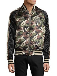 Members Only Reversible Camo Zip Front Bomber Jacket Light Olive