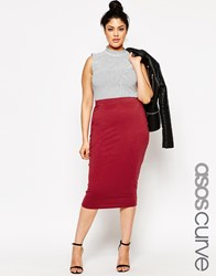 Asos Curve Midi Pencil Skirt In Jersey Oxblood