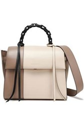 Elena Ghisellini Woman Angel Chain Trimmed Two Tone Leather Tote Neutral