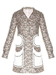 Giambattista Valli Stud Embellished Flower Bud Jacquard Coat Light Pink