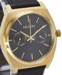 Nixon Gold And Black Time Teller Deluxe Leather Watch Yellow