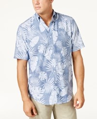 Club Room Men's Reverse Floral Print Shirt Created For Macy's Med Blue Chambray