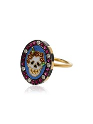 Holly Dyment Multicoloured Mini Skull Diamond And Ruby 18Kt Gold Ring
