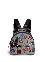 Msgm Spaceship Applique Quilted Backpack Multi Colour