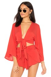 Blue Life Wrapped Top Red