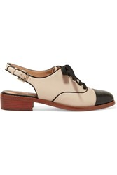 Sam Edelman Damian Two Tone Leather Slingback Brogues Ivory