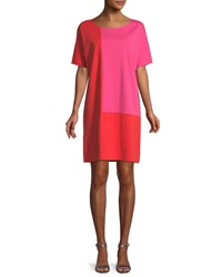 Joan Vass Short Sleeve Colorblock Dress Petite Poppy Hot Pink
