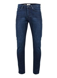 Topman Washed Indigo Tapered Stretch Skinny Jeans Blue