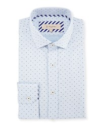 English Laundry Textured Dot Print Dress Shirt Blue
