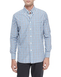 Billy Reid Large Check Long Sleeve Sport Shirt Blue Pattern
