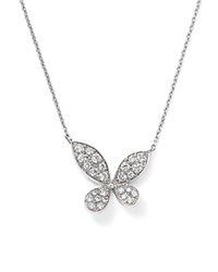 Bloomingdale's Diamond Pave Butterfly Pendant Necklace In 14K White Gold .35 Ct. T.W.