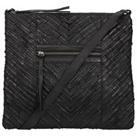 Pieces Piper Leather Across Body Bag Black