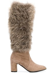 Casadei Faux Fur Under The Knee Boots Nude And Neutrals