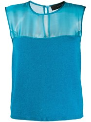 Federica Tosi Sleeveless Knitted Top Blue